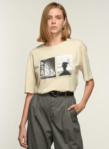 NGSTYLE Ngkaw21Ts0003 Baskılı Oversize Tshirt Bej